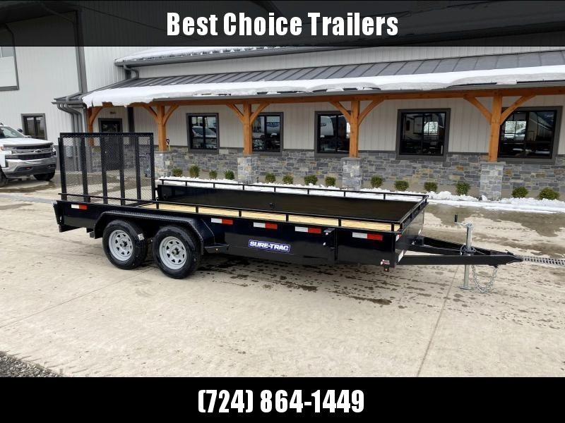 """2021 Sure-Trac 7x16' Steel High Side Utility Trailer 7000# GVW * 3x4"""" ANGLE FRAME * 14"""" STEEL SOLID SIDES * 2X2"""" TUBE GATE C/M + SPRING ASSIST + FOLD FLAT * TOOLESS GATE REMOVAL * SPARE MOUNT * PROTECTED WIRING * SET BACK JACK * TRIPLE TUBE TONGUE"""
