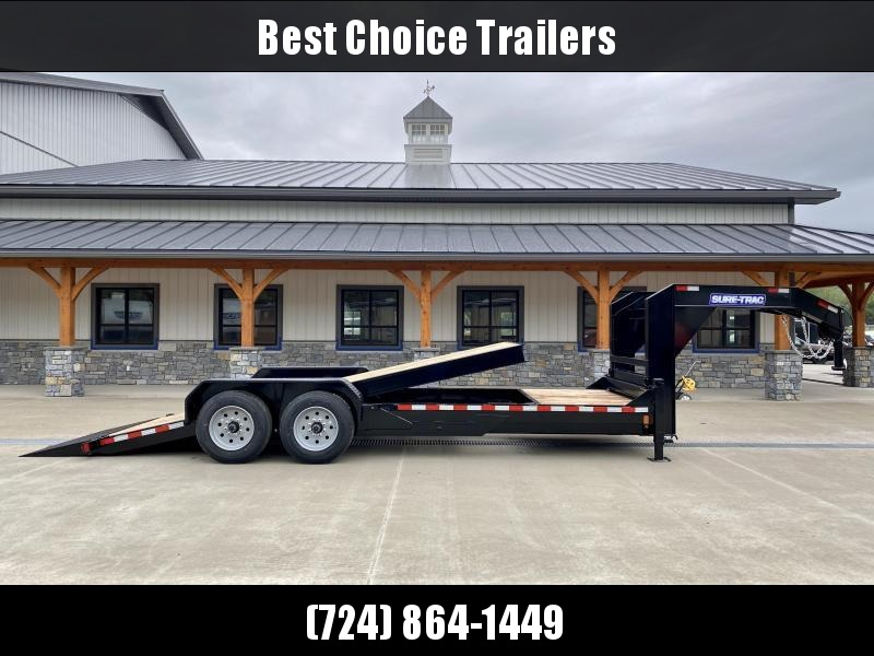 "2021 Sure-Trac 7x22' Gooseneck Gravity Tilt Equipment Trailer 16000# GVW * 8K AXLE UPGRADE * 18+4' SPLIT DECK * TOOLBOX * DUAL 12K JACKS * D-RINGS/RUBRAIL/STAKE POCKETS * OAK DECKING * 17.5"" RUBBER"