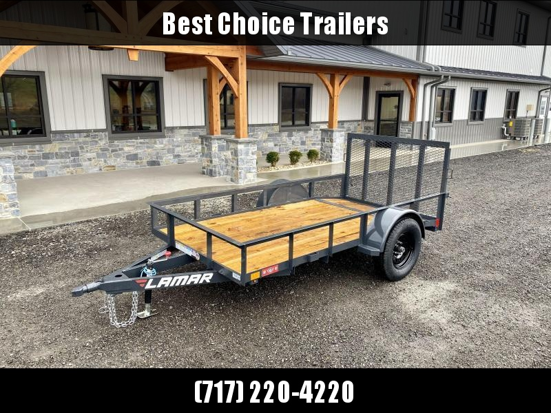 2021 Lamar 5x10 Utility Landscape Trailer 2990 Gvw Charcoal Cast Coupler Sealed Cold Weather Harness 4 Channel Full Wrap Tongue Stake Pocket Tie Downs 2x2 3