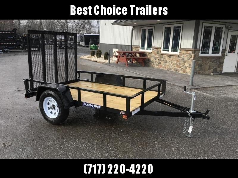 """2021 Sure-Trac 5x8' Utility Landscape Trailer 2990# GVW * 2X2"""" TUBE GATE C/M + FOLD FLAT * TOOLESS GATE REMOVAL * CHANNEL TONGUE * REAR BOARD RETAINER * HD FENDERS * ZINC JACK * RADIAL TIRES * POWDERCOATED"""