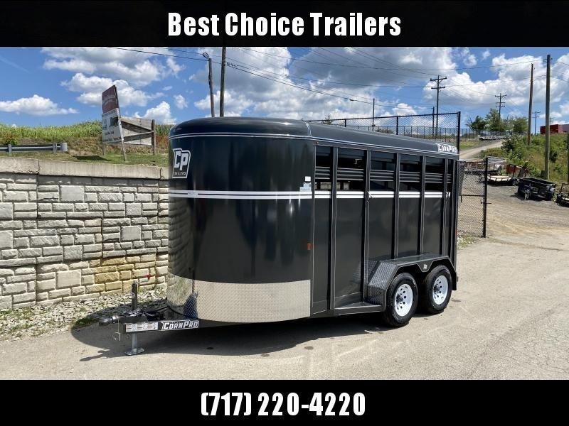 "2021 Corn Pro 7x14' Livestock Trailer 7000# GVW * GRAY * TORSION SUSPENSION * DEXTER AXLES * 225/75/R15 8-PLY TIRES * HD FENDERS * CENTER AND REAR SLAM GATES * 4"" CHANNEL TONGUE * URETHANE PAINT * KILN DRIED LUMBER * 7' HEIGHT * 2 HORSE SLANT"