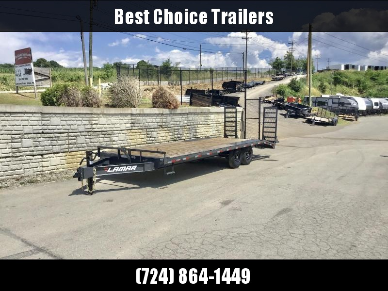 """2021 Lamar 102x24' Beavertail Deckover Trailer 14000# GVW * STAND UP RAMPS + SPRING ASSIST * TOOL TRAY * HD COUPLER * I-BEAM FRAME * 16"""" O.C. C/M * RUBRAIL/STAKE POCKETS/PIPE SPOOLS * CHANNEL SIDE RAIL * 4X8"""" TUBE BUMPER"""