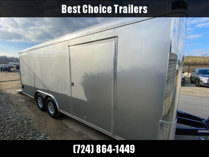 "2021 Sure-Trac 8.5x20' Pro Series Enclosed Car Hauler Trailer 9900# GVW * SILVER EXTERIOR * TORSION SUSPENSION * .030 SCREWLESS EXTERIOR * ROUND TOP * ALUMINUM WHEELS * 1 PC ROOF * 7K DROP JACK * 6"" TUBE FRAME * 48"" RV DOOR * PLYWOOD * 5200# AXLES * TUBE"
