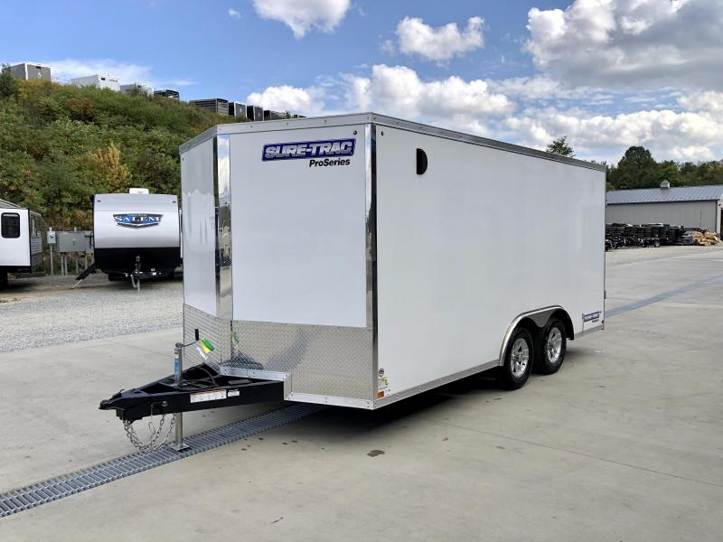 "2021 Sure-Trac 8.5x16' Enclosed Car Hauler Trailer 9900# GVW * WHITE EXTERIOR * V-NOSE * BARN DOORS * 5200# TORSION AXLES * .030 SEMI-SCREWLESS EXTERIOR * 16"" O.C. C/M * TUBE STUDS * RV DOOR * SET BACK JACK * UNDERCOATED * BULLET LED'S * BACK UP LIGHTS"