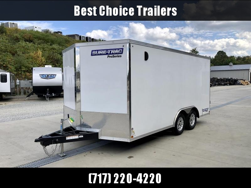 "2021 Sure-Trac 8.5x16' Enclosed Car Hauler Trailer 9900# GVW * WHITE EXTERIOR * V-NOSE * BARN DOORS * 5200# TORSION AXLES * .030 SCREWLESS EXTERIOR * 16"" O.C. C/M * TUBE STUDS * RV DOOR * SET BACK JACK * UNDERCOATED * BULLET LED'S * BACK UP LIGHTS"