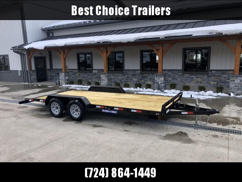 2022 Sure-Trac 7x16' Wood Deck Car Hauler 7000# GVW * REAR SLIDE OUT PUNCH PLATE FINGERJOINTED RAMPS * DIAMOND PLATE FENDERS * SEALED WIRING HARNESS * SET BACK JACK * STAKE POCKETS/D-RINGS * DIAMOND PLATE DOVETAIL