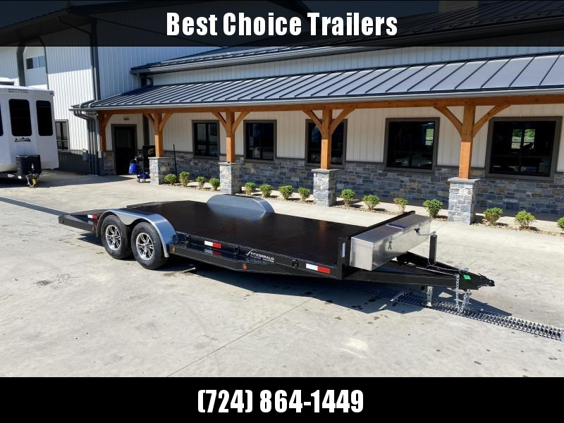 USED 2021 Fitzgerald 7x20' Steel Deck Car Hauler 9900# GVW * STEEL DECK * WINCH * SOLAR CHARGER * TOOLBOX * SPLIT TAIL * SLIDE OUT RAMPS * ALUMINUM WHEELS * SPARE TIRE * D-RINGS * REMOVEABLE FENDERS * DROP LEG JACK