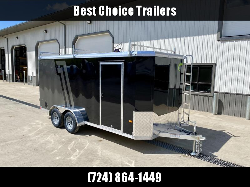 "2021 NEO 7x14' NAC Aluminum Bullnose Enclosed Cargo Trailer * JD SLASH 2-TONE * LADDER RACKS AND ACCESS LADDER * BLACK AND CHARCOAL * ALUMINUM WHEELS * 16"" O.C. WALLS/CEILING * BARN DOORS"
