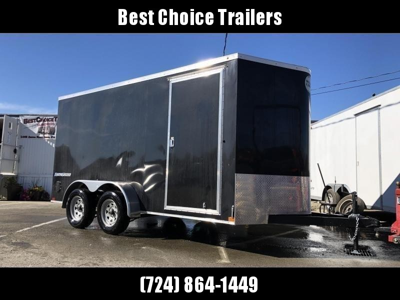"USED 2019 Wells Cargo 7x14' Road Force Enclosed Cargo Trailer 7000# GVW * BLACK EXTERIOR * 7'6"" HEIGHT UPG * RAMP DOOR * V-NOSE * SCREWLESS .030 EXTERIOR * TUBE STUDS * 1 PC ROOF * 16"" O.C. WALLS/FLOOR * RV DOOR * ARMOR GUARD * BULLET LED'S"