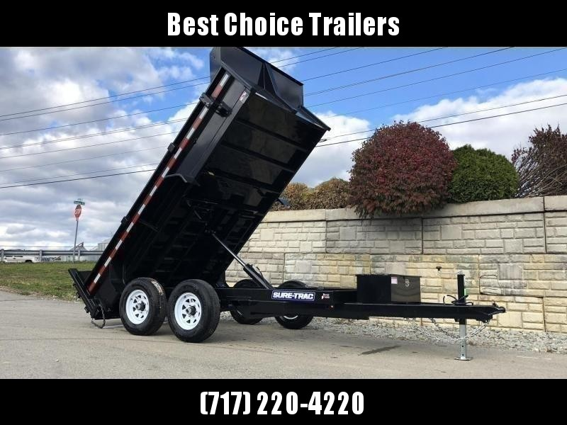 "2021 Sure-Trac 6x12' Dump Trailer 9900# GVW * SCISSOR HOIST * ADJUSTABLE COUPLER * UNDERMOUNT RAMPS * COMBO GATE * 7K DROP LEG JACK * FRONT/REAR BULKHEAD * INTEGRATED KEYWAY * SPARE MOUNT * HD FENDERS * 4"" TUBE BEDFRAME * TRIPLE TUBE TONGUE * POWDERCOATED"