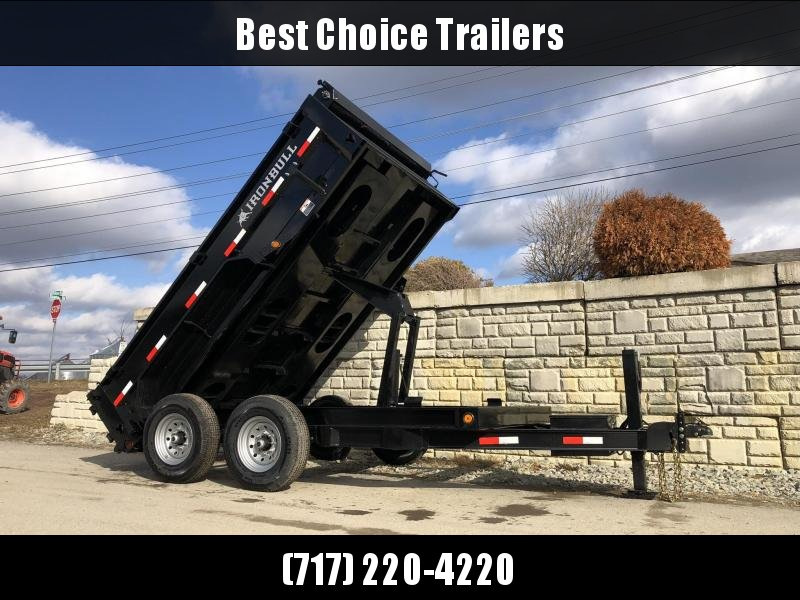 "2021 Ironbull 7x12' Dump Trailer 9990# GVW * TARP KIT * SCISSOR HOIST * STACKED I-BEAM FRAME * 6"" TUBE BEDFRAME * 2PC 10GA BED & WALLS W/ KEYWAY * COMBO GATE * UNDERBODY BED RUNNERS * DEXTER AXLES * 2-3-2 WARRANTY"