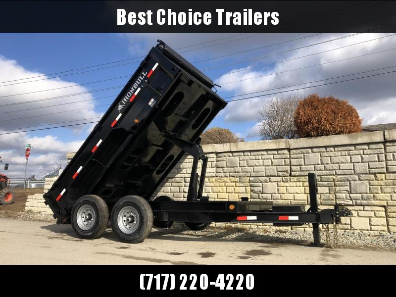 "2021 Ironbull 7x12' Dump Trailer 9990# GVW * TARP KIT * SCISSOR HOIST * STACKED I-BEAM FRAME * 6"" TUBE BEDFRAME * 2PC 10GA BED & WALLS W/ KEYWAY * COMBO GATE * UNDERBODY BED RUNNERS * DEXTER AXLES * 2-3-2 WARRANTY"