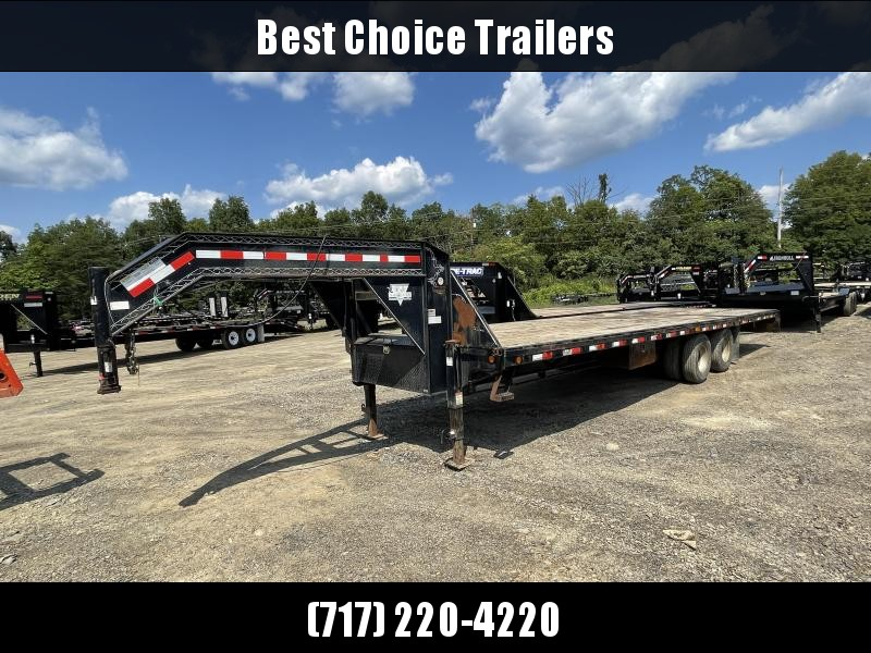 USED 2007 PJ 102x30' Gooseneck Deckover Hydraulic Dovetail Trailer 22400# * DEXTER AXLES * FRONT AND SIDE TOOLBOXES