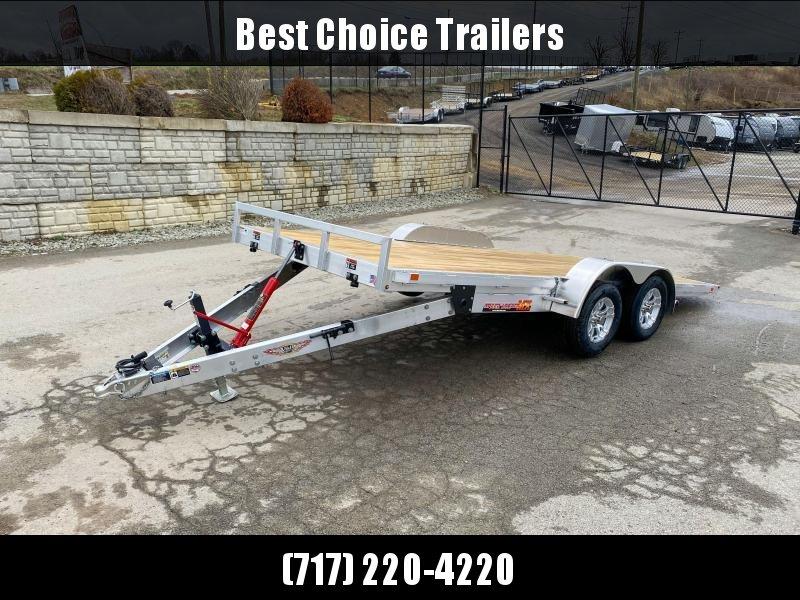 "2021 H&H 7x18' Aluminum Tilt Car Hauler Trailer 7000# GVW * 6"" TONGUE AND FRAME * REMOVABLE FENDERS * ALUMINUM WHEELS * DROP JACK"