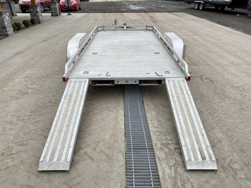 USED 2015 Aluma 6.5x14' Aluminum Car Hauler 7000# GVW * EXTRUDED ALUMINUM FLOOR * ALUMINUM WHEELS * SWIVEL JACK * TORSION SUSPENSION * D-RINGS/STAKE POCKETS * STABILIZER JACK * SLIDE OUT RAMPS * REMOVEABLE FENDERS