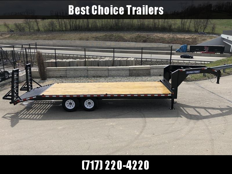 "2021 Sure-Trac 102x22 Gooseneck Beavertail Deckover Trailer 15000# GVW * FULL TOOLBOX * DUAL 12K JACKS * HD 4"" CHANNEL STAND UP DELUXE RAMPS + SPRING ASSIST * 10"" I-BEAM MAINFRAME * CHANNEL SIDE RAIL * RUBRAIL/STAKE POCKETS/D-RINGS * LED'S"