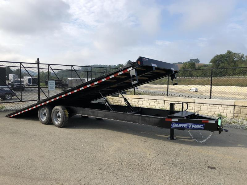 "2021 Sure-Trac 102x24' Power Tilt Deckover 17600# GVW * SCISSOR HOIST * HYDRAULIC JACK * 8000# AXLES * 17.5"" 16-PLY TIRES * WINCH PLATE * OAK DECK UPGRADE * 3 3/8"" BRAKES * 4X4X1/4"" TUBE BED RUNNERS * RUBRAIL/STAKE POCKETS/PIPE SPOOLS/8 D-RINGS * LOW LOAD"