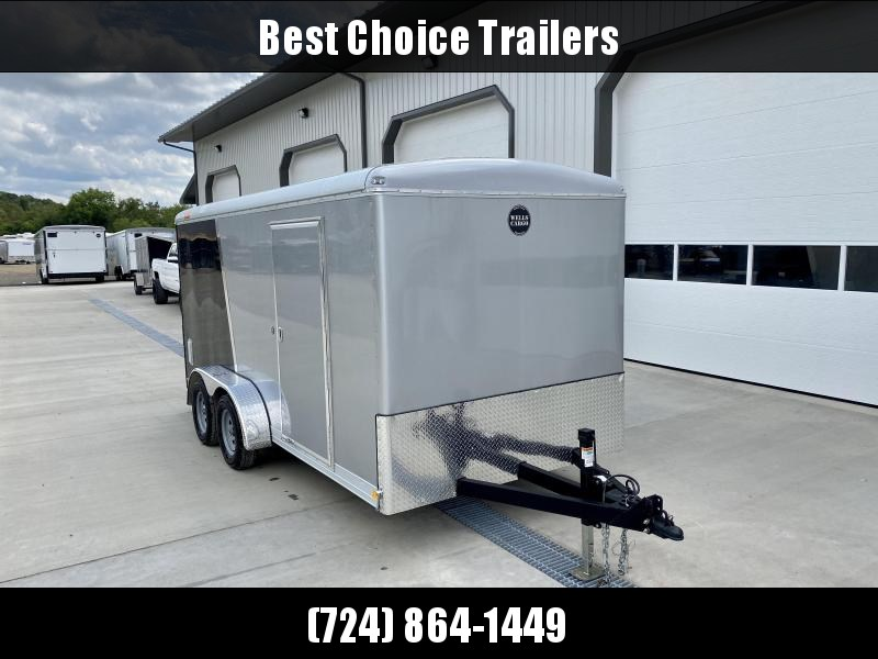 "2020 Wells Cargo 7X16' Wagon HD Enclosed Motorcycle Trailer 7000# GVW * BLACK + SILVER * 6'8"" INTERIOR HEIGHT * .030 EXTERIOR * HD RAMP DOOR * TRIPLE TUBE TONGUE * ADJUSTABLE COUPLER * D-RINGS * TORSION SUSPENSION * 7K JACK"