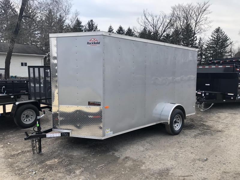 2021 Rock Solid Cargo 6x10' Enclosed Cargo Trailer 2990# GVW *  SILVER EXTERIOR * RAMP DOOR * RV DOOR * 16IN O.C. C/M * TUBE STUDS * PLYWOOD WALLS AND FLOOR
