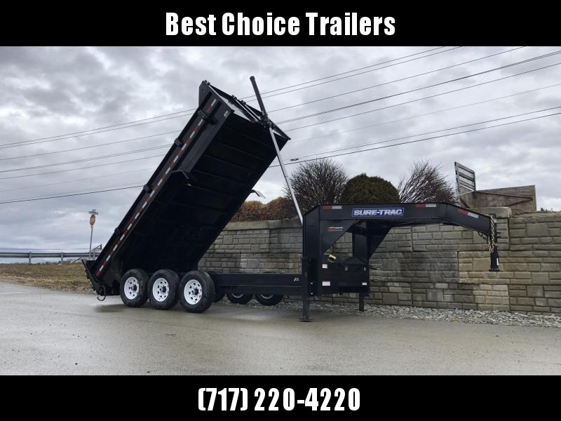 2021 Sure-Trac 7x16' 21000# Low Profile HD GOOSENECK Dump Trailer * TELESCOPIC HOIST * TRIPLE AXLE * DELUXE TARP KIT