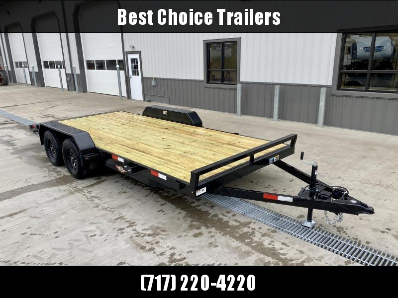 2021 H&H 7x18' Wood Deck Car Hauler Trailer 7000# * SLIDE OUT RAMPS * DIAMOND PLATE FENDERS * DIAMOND PLATE DOVETAIL * SEALED WIRING HARNESS * SET BACK JACK * STAKE POCKETS * SPARE MOUNT