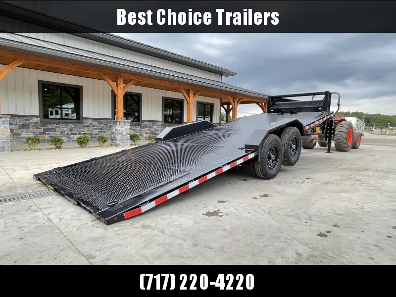 """2021 H&H 102x22' Gooseneck Power Tilt Equipment Trailer 14000# GVW * GOOSENECK COUPLER * STEEL DECK * POWER TILT * FRONT TOOLBOX * 102"""" DECK OUTRIGGERS * DRIVE OVER FENDERS * WINCH PLATE * INTEGRATED TAIL LIGHTS * CHANNEL C/M * CLEARANCE"""