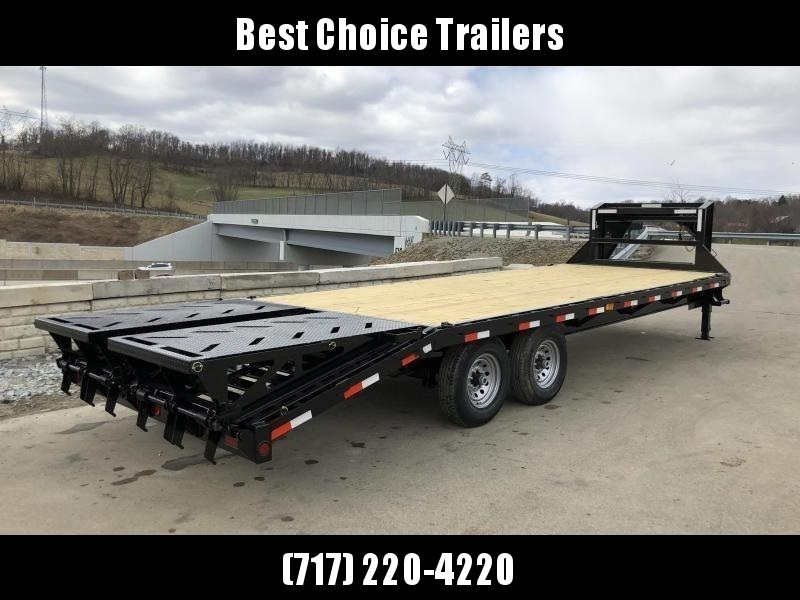 "2021 Ironbull 102x30' Gooseneck Deckover 14000# GVW * FULL WIDTH RAMPAGE RAMPS * 10"" I-BEAM FRAME * RUBRAIL/STAKE POCKETS/PIPE SPOOLS/D-RINGS * DUAL JACKS * FULL TOOLBOX * TUBE SIDE RAIL * DEXTER'S * 2-3-2 WARRANTY"