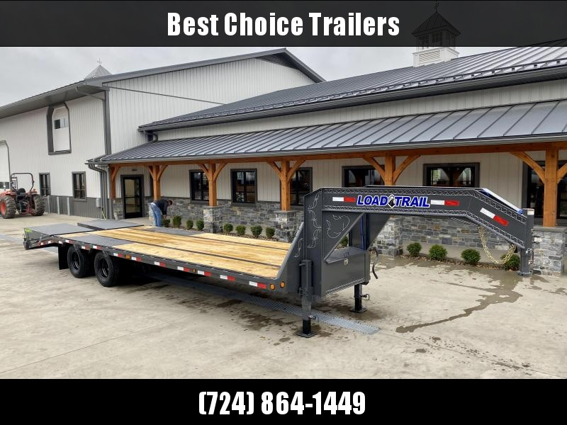 "2021 Load Trail 102x28' Gooseneck Beavertail Deckover Trailer 22000# GVW * FULL WIDTH RAMPS (STAND UP OR FLIPOVER) * DEXTER AXLES * HDSS SUSPENSION * SPARE TIRE * 12""/19#  I-BEAM FRAME *PIERCED FRAME * PRIMER * 2-3-2 WARRANTY"
