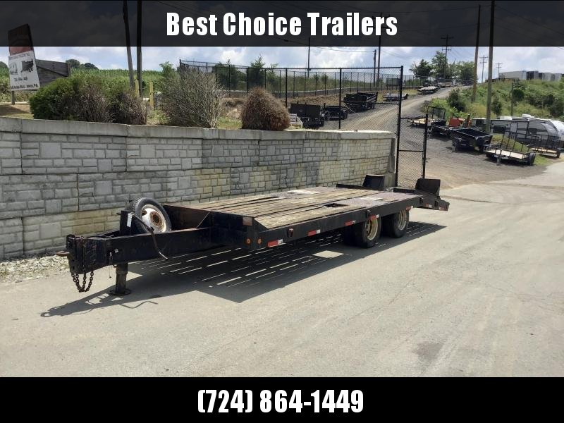 "USED Eager Beaver 102x17+5' 23500# GVW Deckover Flatbed Trailer * 12"" I-BEAM TONGUE/FRAME * STAND UP RAMPS * ADJUSTABLE PINTLE COUPLER * SPARE WHEEL/TIRE * D-RINGS * CHAIN TRAY"