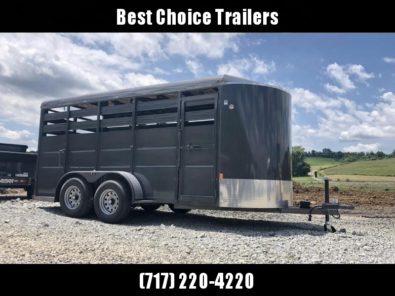 2021 Delta 12' Livestock Trailer 7000# GVW * GREY * CENTER GATE * ESCAPE DOOR * DEXTER
