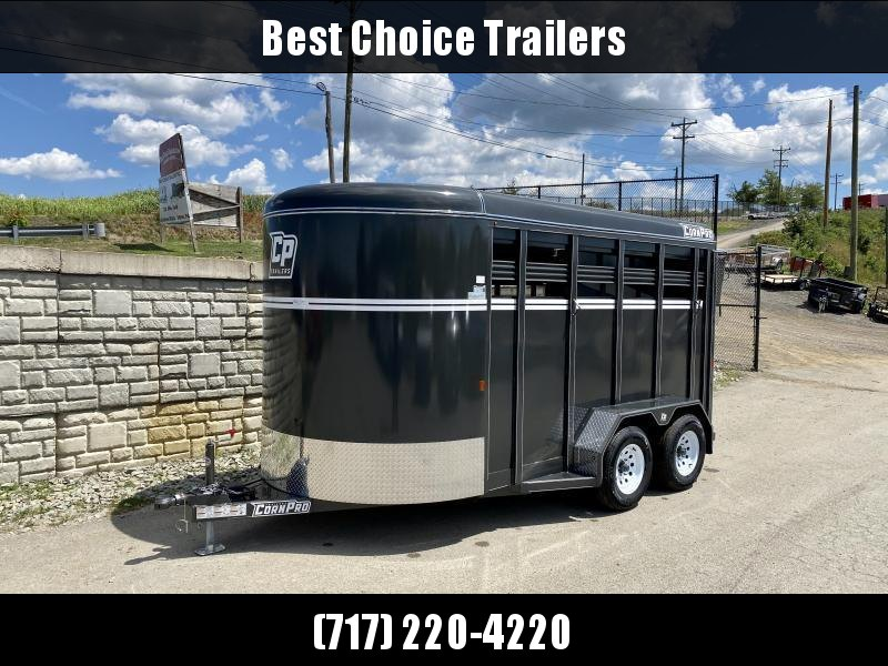 "2020 Corn Pro 7x14' Livestock Trailer 7000# GVW * BEIGE * TORSION SUSPENSION * DEXTER AXLES * 225/75/R15 8-PLY TIRES * HD FENDERS * CENTER AND REAR SLAM GATES * 4"" CHANNEL TONGUE * URETHANE PAINT * KILN DRIED LUMBER * 7' HEIGHT * 2 HORSE SLANT"