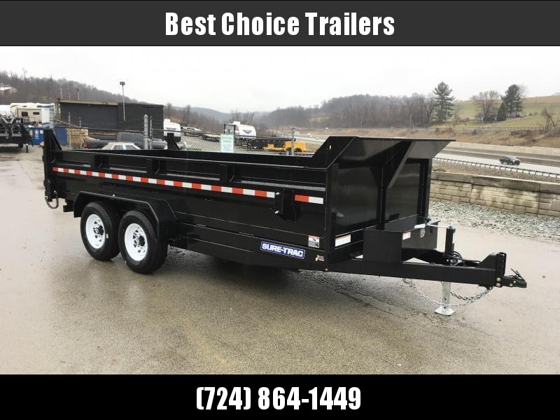 """2020 Sure-Trac 7x16' Dump Trailer 14000# GVW * DELUXE TARP KIT * HYDRAULIC JACK * 7-GAUGE FLOOR * OVERSIZE 4X42"""" DUAL PISTON * FRONT/REAR BULKHEAD * INTEGRATED KEYWAY * 2' SIDES * UNDERBODY TOOL TRAY * ADJUSTABLE COUPLER * 110V CHARGER * UNDERMOUNT RAMPS"""
