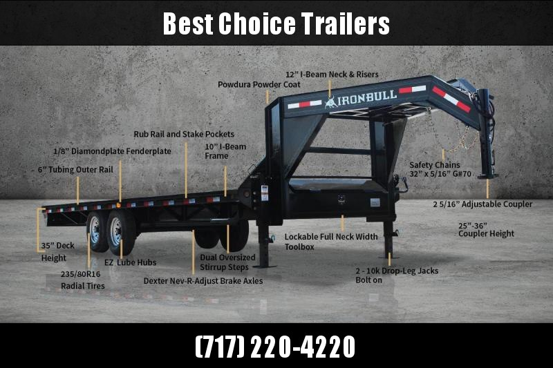 "2019 Ironbull 102x25' Gooseneck Deckover 14000# GVW * FLIPOVER RAMPS W/ SPRING ASSIST * 10"" I-BEAM FRAME * RUBRAIL/STAKE POCKETS/PIPE SPOOLS/D-RINGS * DUAL JACKS * FULL TOOLBOX * TUBE SIDE RAIL * DEXTER'S * 2-3-2 WARRANTY * CLEARANCE"