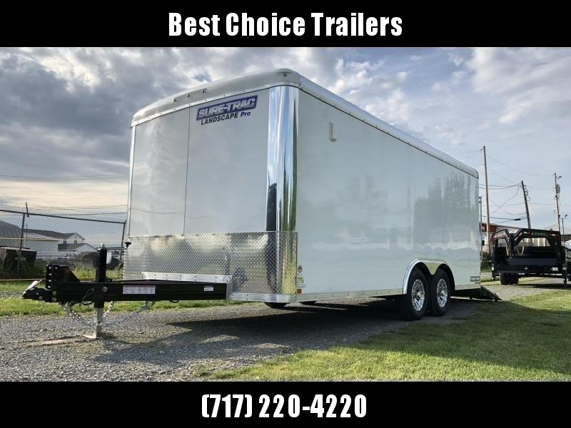 "2021 Sure-Trac 8.5x18' Landscape Pro Enclosed Trailer 9900# GVW * WHITE EXTERIOR * 2X6"" PLANK FLOOR * EXTENDED TONGUE * 5200# TORSION * INTEGRATED KNIFE EDGE * STEEL WORKBENCH * EXTENDED TONGUE * ADJUSTABLE COUPLER * DROP LEG JACK * HD GUSSETS/REINFORCEME"