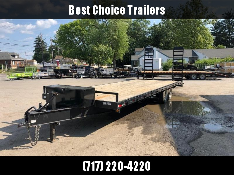 USED 2017 QSA 102x20+4' Beavertail Flatbed Trailer 13600# GVW * OVERLENGTH RAMPS * TOOLBOX * I-BEAM FRAME