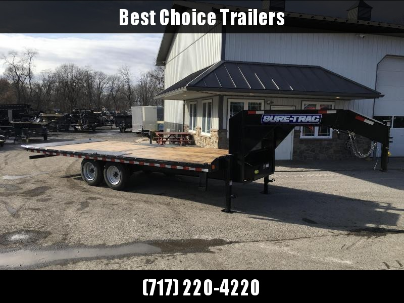 "2021 Sure-Trac 102x24' Gooseneck Power Tilt Deckover 17600# GVW * SCISSOR HOIST * 8000# AXLES * 17.5"" 16-PLY TIRES * WINCH PLATE * OAK DECK * DUAL HYDRAULIC JACKS * 4X4X1/4"" TUBE BED RUNNERS * DUAL PISTON * 10"" I-BEAM * RUBRAIL/STAKE POCKETS/PIPE SPOOLS/8"