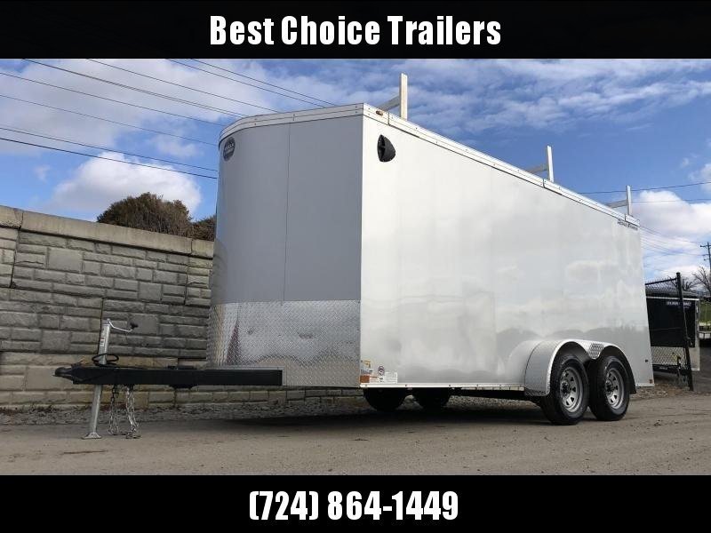 "2020 Wells Cargo 7x16' Road Force Enclosed Contractor Trailer 7000# GVW * BLACK * CONTRACTOR PACKAGE * 3 LADDER RACKS * 3/4"" WALLS * SCREWLESS .030 EXTERIOR * 1 PC ALUM ROOF * 6'6"" HEIGHT * TUBE STUDS * RV DOOR * ARMOR GUARD * EXTENDED TRIPLE TUBE TONG"