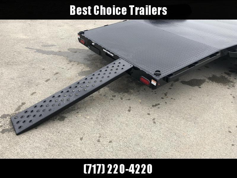 """2021 Sure-Trac 7x20' Steel Deck Car Hauler 9900# GVW * 4' BEAVERTAIL * LOW LOAD ANGLE * ALUMINUM WHEELS * 5"""" TUBE TONGUE/FRAME * AIR DAM * RUBRAIL/STAKE POCKETS/D-RINGS * REMOVABLE FENDER * FULL SEAMS WELDS * REAR SLIDEOUT PUNCH PLATE RAMPS"""