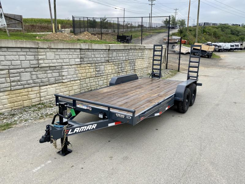 2019 Lamar 7x18' Equipment Trailer 14000# GVW * STAND UP RAMPS * CHARCOAL POWDERCOAT * RUBRAIL/STAKE POCKETS * REMOVABLE FENDERS * 12K JACK * ADJUSTABLE COUPLER * SPRING ASSIST * COLD WEATHER HARNESS