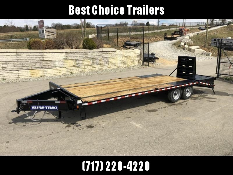"2021 Sure-Trac 102x25' HD Beavertail Deckover Trailer 22500# GVW * FULL WIDTH RAMPS * DUAL JACKS * TOOLBOX * DEXTER AXLES * 12"" I-BEAM * PIERCED FRAME * RUBRAIL/STAKE POCKETS/PIPE SPOOLS/10 D-RINGS * CROSS TRAC BRACING * HD BEAVERTA"