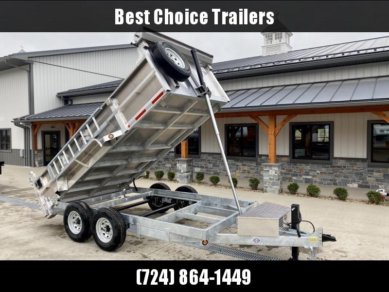 2022 QSA 7x12' Aluminum Dump Trailer 12000# GVW * RAMPS * 2' SIDES * DUAL RAM HOIST * OVERSIZE TOOLBOX * 12K DROP LEG JACK * FRONT/REAR BULKHEAD * ALUMINUM WHEELS