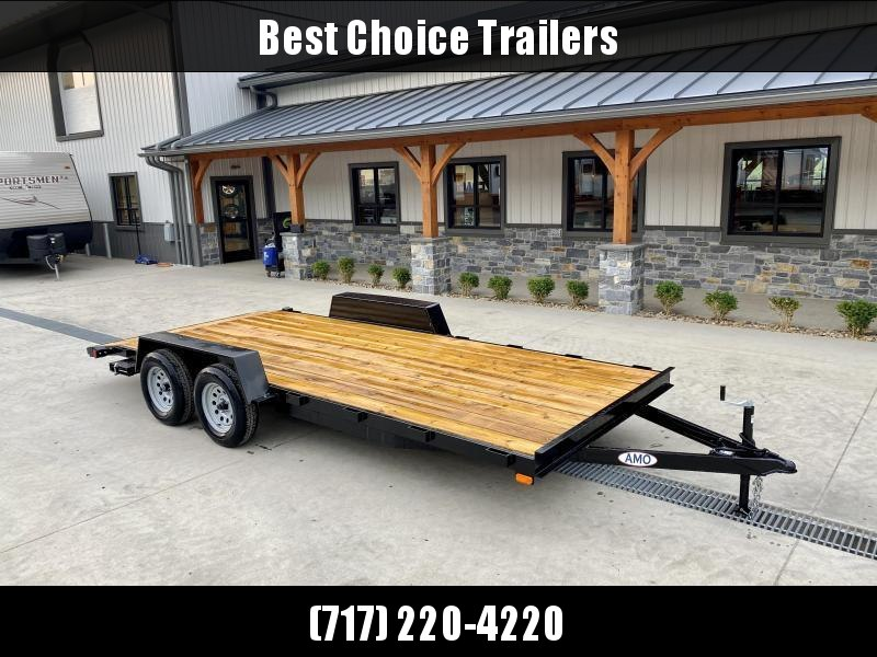 2022 AMO 7x18' Wood Deck Car Trailer 7000# GVW * LED TAIL LIGHTS * STACKED CHANNEL TONGUE/FRAME * BEAVERTAIL * REMOVABLE FENDERS * 2-AXLE BRAKES