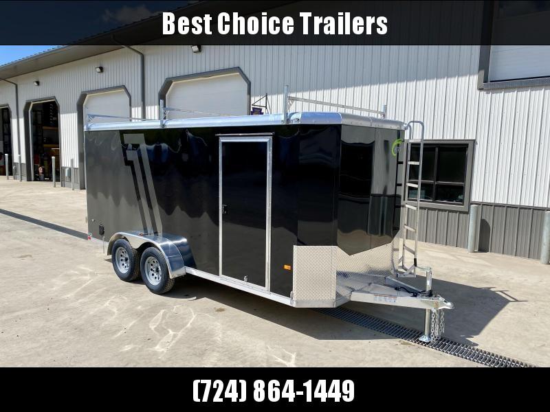 "2022 NEO 7x12' NAC Aluminum Bullnose Enclosed Cargo Trailer * JD SLASH 2-TONE * LADDER RACKS AND ACCESS LADDER * PEWTER AND CHARCOAL * ALUMINUM WHEELS * 16"" O.C. WALLS/CEILING * BARN DOORS"