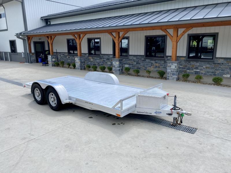 USED 2020 Sundowner Trailers Aluminum Car Hauler Trailer 9200# GVW * ALUMINUM DECK * ALUMINUM WHEELS * TOOLBOX * D-RINGS * SLIDE OUT RAMPS * REMOVEABLE DRIVERS SIDE FENDER * TORSION * LED LIGHTS