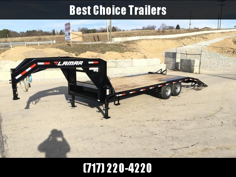 "NEW Lamar 102x22' Gooseneck Beavertail Deckover Trailer 14000# GVW * STAND UP RAMPS + SPRING ASSIST * CHARCOAL * I-BEAM FRAME * 16"" O.C. C/M * RUBRAIL/STAKE POCKETS/PIPE SPOOLS * CHANNEL SIDE RAIL * 4X8"" TUBE BUMPER"