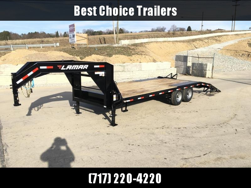 """NEW Lamar 102x22' Gooseneck Beavertail Deckover Trailer 14000# GVW * STAND UP RAMPS + SPRING ASSIST * CHARCOAL * I-BEAM FRAME * 16"""" O.C. C/M * RUBRAIL/STAKE POCKETS/PIPE SPOOLS * CHANNEL SIDE RAIL * 4X8"""" TUBE BUMPER"""