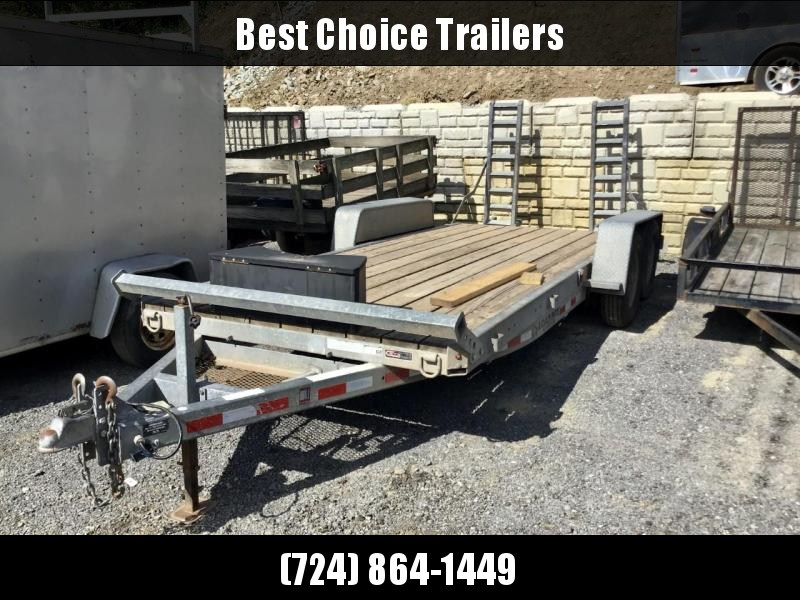 USED 2014 Load Rite 7x22' Equipment Trailer 12000# GVW * GALVANIZED * DROP AXLES * TUBE TONGUE AND FRAME * TOOLBOX