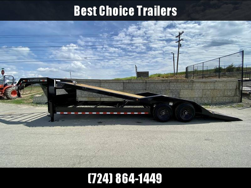 2021 Iron Bull 102x26' Gooseneck Low Profile Power Tilt Equipment Trailer 14000# GVW * DUAL JACKS * WINCH PLATE * D-RINGS/RUBRAIL/STAKE POCKETS/CHAIN SPOOLS * DRIVE OVER FENDERS * TOOLBOX