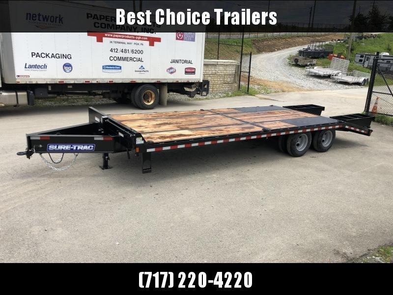 "2021 Sure-Trac 102x25' HD Beavertail Deckover Trailer 22500# GVW * PAVER SPECIAL * OAK BEAVERTAIL/DECK/RAMPS * DEXTER AXLES * 12"" I-BEAM * PIERCED FRAME * (10) 1"" D-RINGS * CROSS TRAC BRACING"