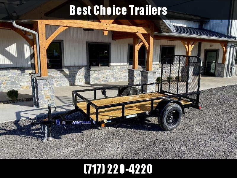 2021 Load Trail 5x10' Utility Landscape Trailer 2990# GVW * BLACK * TUBE TOP RAIL * TUBE BUMPER * TUBE GATE C/M * PRIMER + POWDERCOAT * 2-3-2 WARRANTY * DEXTER AXLES * SEALED HARNESS * TIE DOWNS * SEALED HARNESS * CAST COUPLER